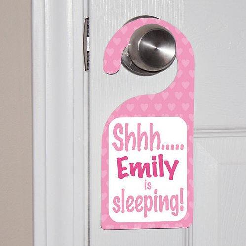 Personalized Baby's Sleeping Pink Door Hanger