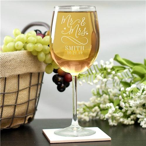 Personalized Mr & Mrs Wine Glass