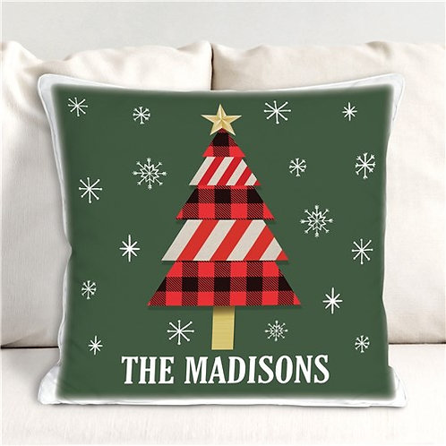 Personalized Christmas Tree Throw Pillow