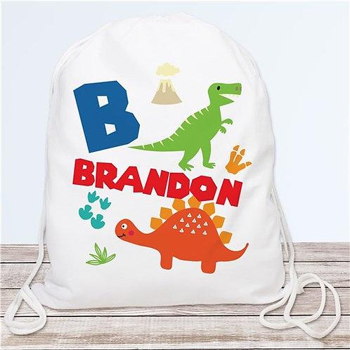 Personalized Dinosaur Drawstring Bag