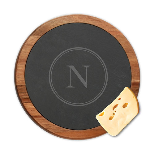 Personalized Initial Round Slate Cheese Board w/ Acacia Wood Border
