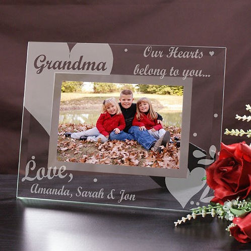 Engraved Our Hearts Belong To Glass Picture Frame