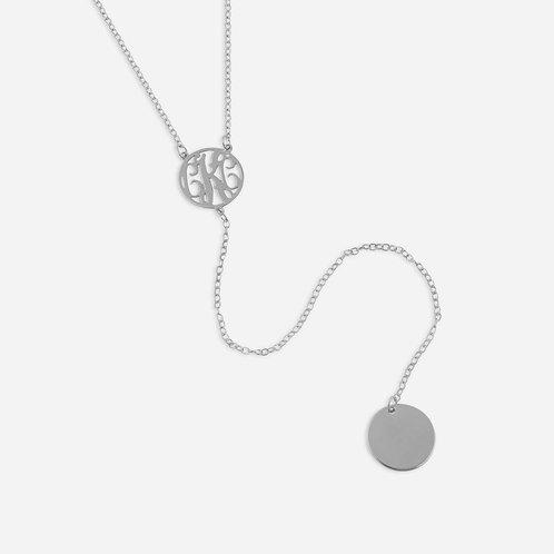 Sterling Silver Monogram Lariat Necklace   Monogram Initial Pendant