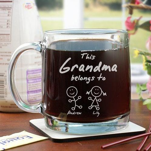 Engraved Belongs To Glass Mug