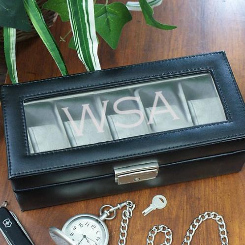 Initials Black Watch Box - Leather