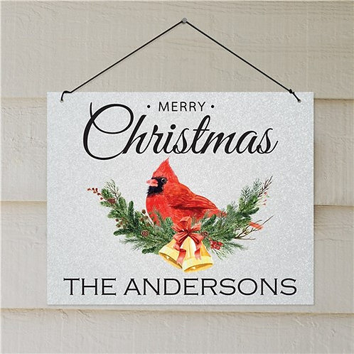 Personalized Merry Christmas Cardinal Wall Sign