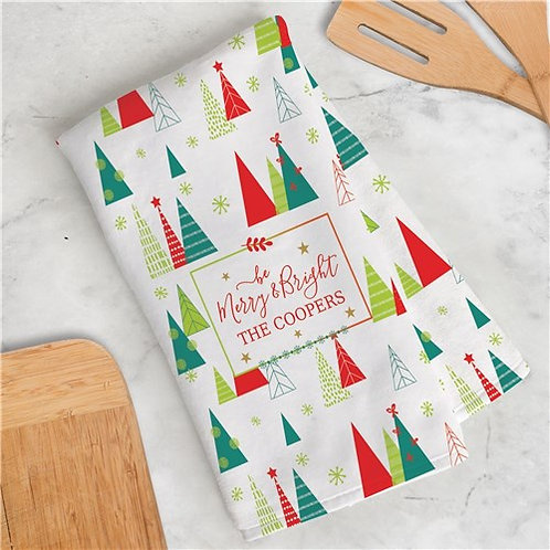 Personalized Be Merry & Bright Dish Towel