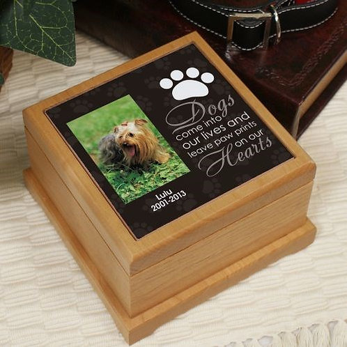 Personalized Pet Photo Wooden Memorial Urn