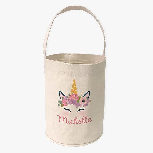 Unicorn Custom Canvas Mini Tote Bucket