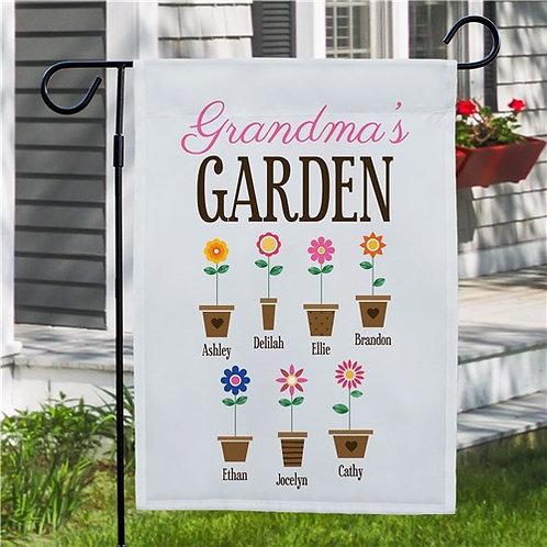 Personalized Grandma's Garden Flower Pots Garden Flag