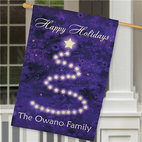 Personalized Christmas Purple House Flag