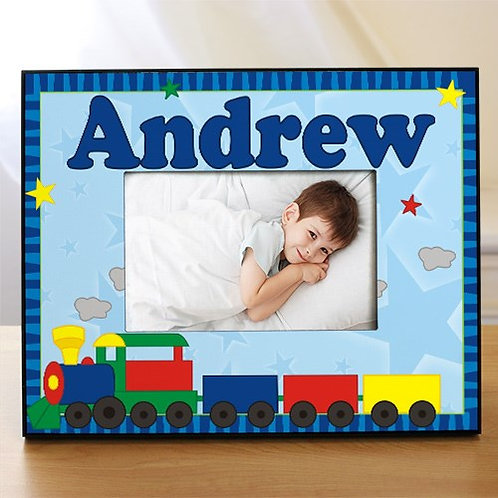 "New Baby ""All Aboard Baby Train"" Personalized Printed Frame"