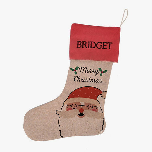 Merry Christmas Linen Custom Santa Claus Stocking