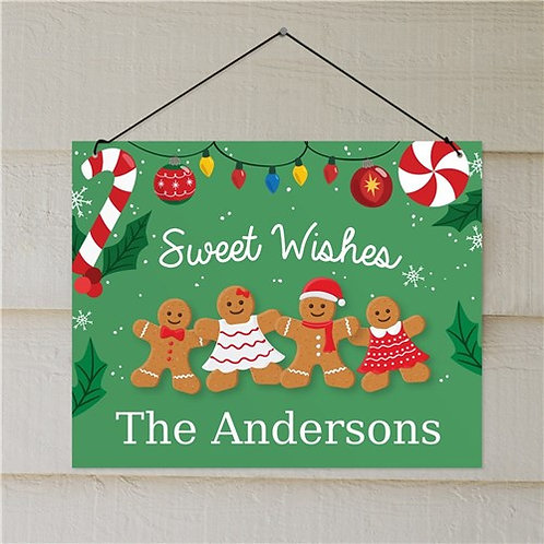 Personalized Sweet Wishes Gingerbread Wall Sign