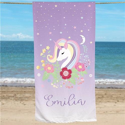 Personalized Unicorn Beach Towel