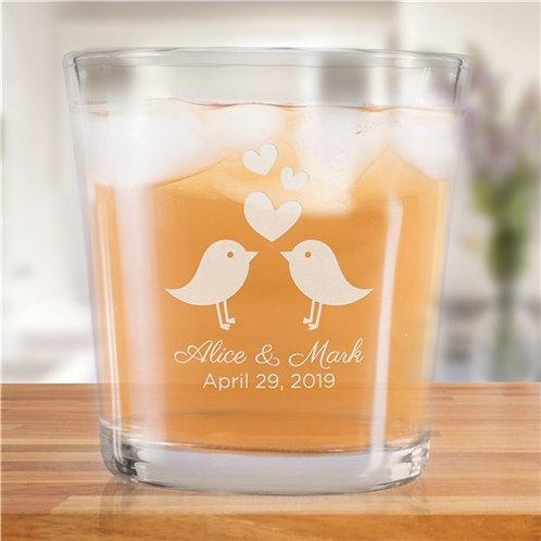 Engraved Love Birds Rocks Glass