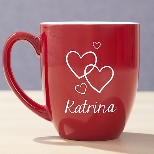 Engraved Hearts Red Bistro Mug