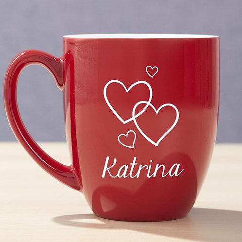 Engraved Hearts Red Bistro Mug