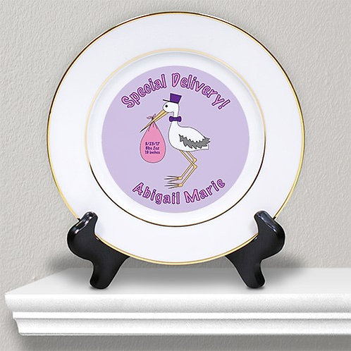 Special Delivery Baby Girl Announcement Ceramic Plate