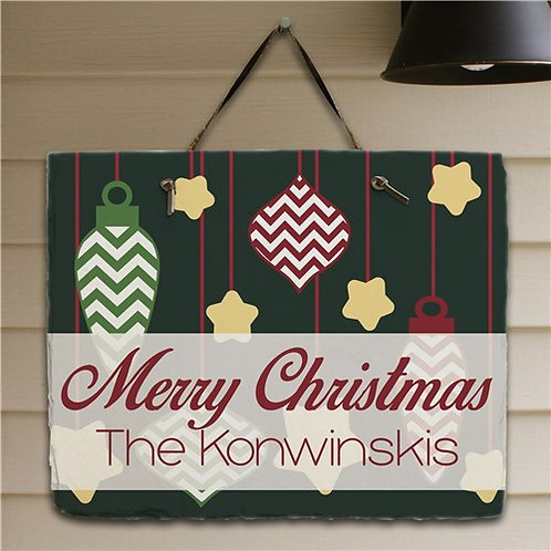 Merry Christmas Personalized Slate Plaque