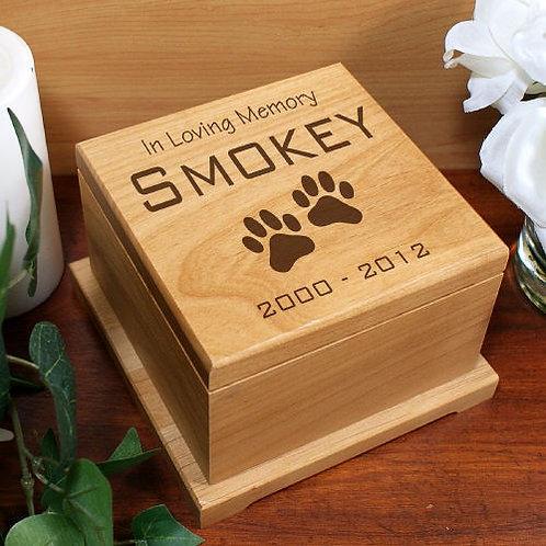 Engraved Pet Memorial Wooden Urn