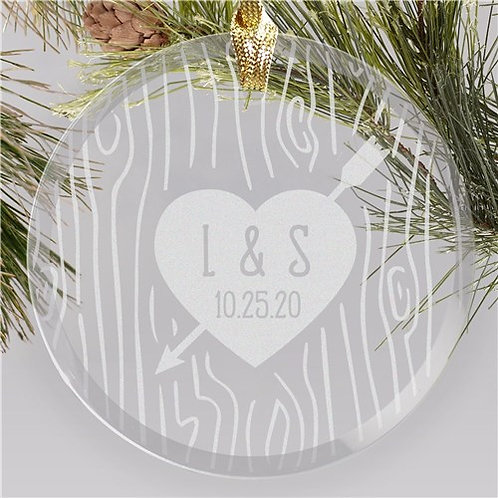 Engraved Initials Heart Carved Tree Round Glass Ornament