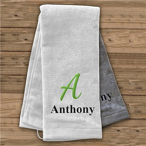 Embroidered Initial And Name Golf Towel
