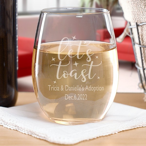Personalized Let's Toast Stemless Wine Glass