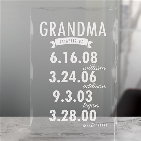Engraved Mom Established Acrylic Keepsake