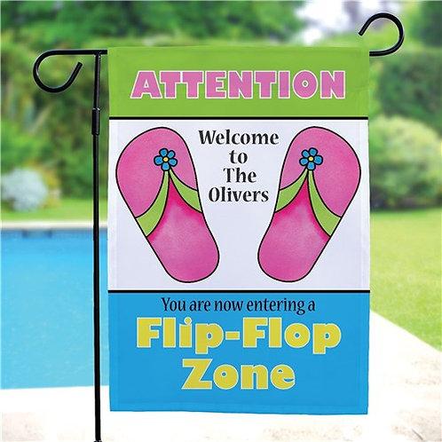 Personalized Flip Flop Zone Garden Flag