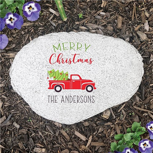 Personalized Merry Christmas Red Truck Flat Garden Stone