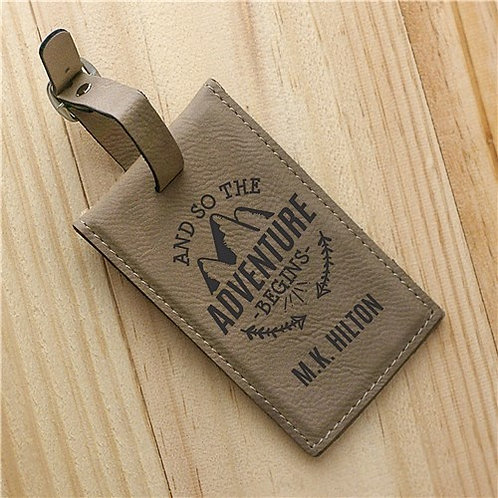 Personalized And So The Adventure Begins Leather Luggage Tag