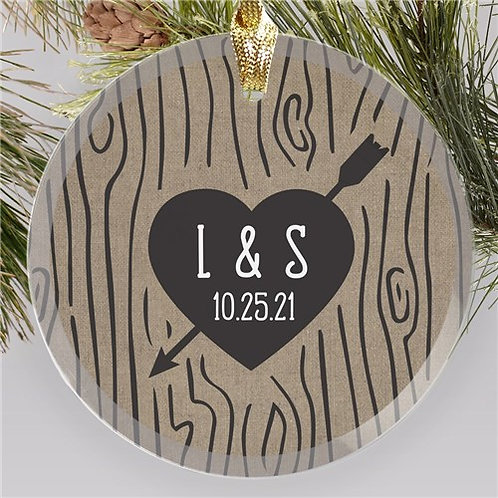 Engraved Initials Heart Carved Tree Colored Round Glass Ornament