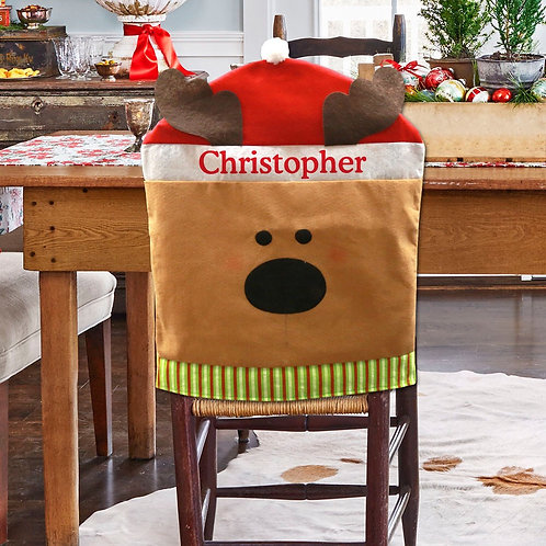 Reindeer Holiday Time Custom Chair Cover