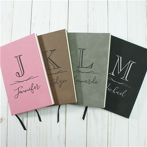 Personalized Elegant Initial And Name Leather Journal