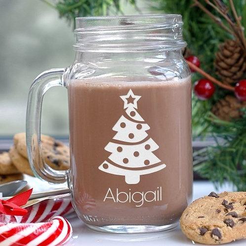 Engraved Christmas Tree Mason Jar