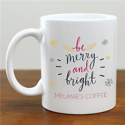 Personalized Be Merry and Bright Mug
