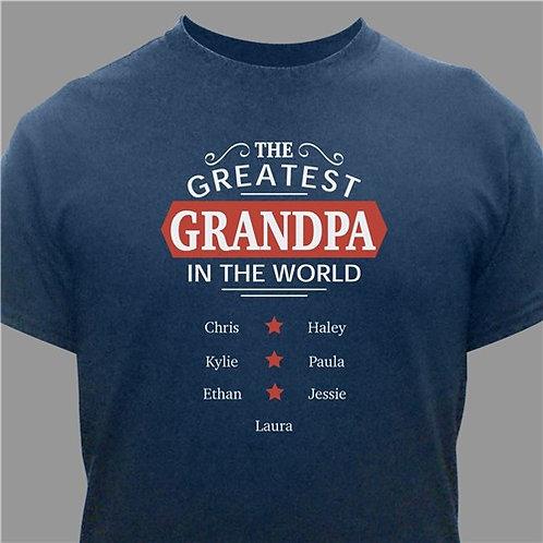 Personalized Greatest Grandpa T-Shirt