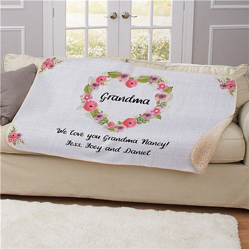 Personalized Floral Heart Sherpa Blanket