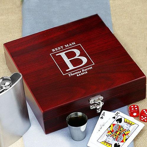Rosewood Poker Flask Set
