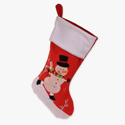 Ice Skating Snowman Non-Personalized Christmas Stocking