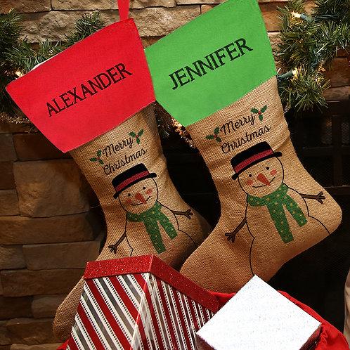 Merry Christmas Linen Custom Snowman Stocking