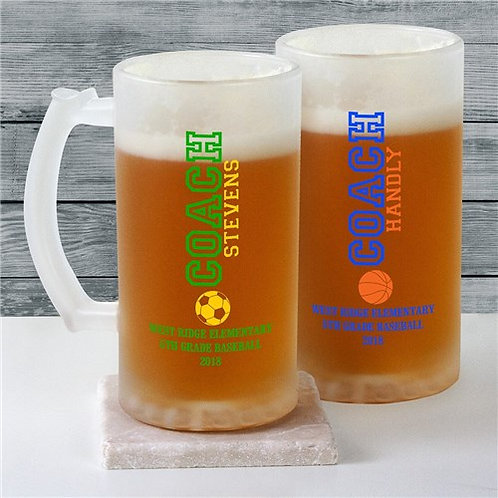 Personalized Coach Sports Icon Frosted Glass Stein