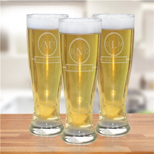 Engraved Monogram Bridal Party Pilsner Glass