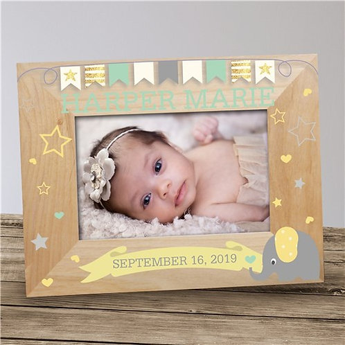Personalized Baby Elephant Wooden Frame