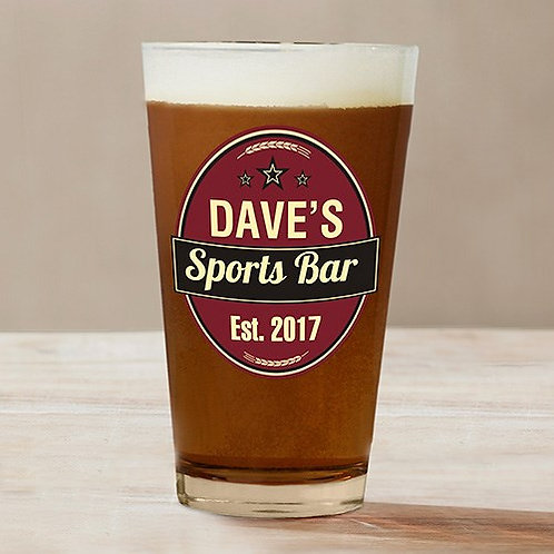 Engraved Sport Bar Beer Glass