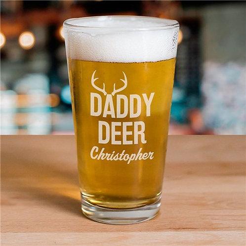 Engraved Daddy Deer Beer Glass