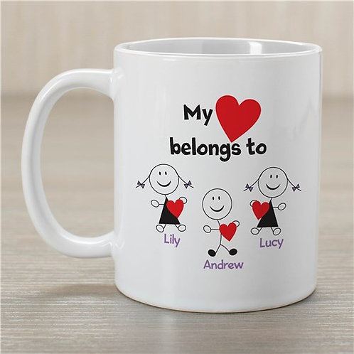 Personalized Belongs To Heart Coffee Mug