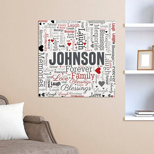Family Word-Art Square Canvas
