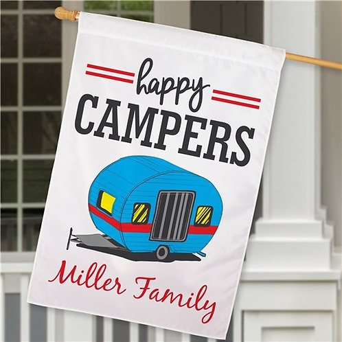 Personalized Happy Campers Family House Flag